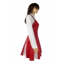 Lovely Womens Long Sleeve Fit Shirt Short Pleated Flared Suspender Dress Socks Set in Red
