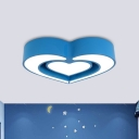 Dual Loving Heart Flush Mount Lighting Creative Blue/Green/Red LED Close to Ceiling Lamp for Bedroom