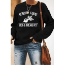 Leisure Letter Schrute Farms Radish Graphic Long Sleeve Crew Neck Relaxed Pullover Sweatshirt