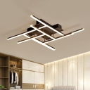 Modern Stacked T-Shape Ceiling Lamp Metal Sleeping Room LED Semi Flush Mount Light in Black