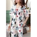 Fancy Womens Floral Leaf Print Lace Trim Bow Front Half Sleeve V Neck Oversized T-Shirt & Pocket Capri Pants Pajama Set in White