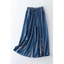 Women's Fancy Jeans Floral Embroidery Drawstring Waist Pockets Cropped Relaxed Fit Wide-leg Jeans