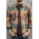 Mens Jacket Simple Plaid Pattern Flap Chest Pockets Button-down Long Sleeve Turn-down Collar Slim Fitted Shirt Jacket