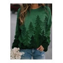 Trendy 3D Christmas Tree Printed Crew Neck Long Sleeve Relaxed Fit Pullover Sweatshirt