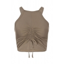 Stylish Knitted Halter Drawstring Front Slim Fit Cropped Tank Top in Khaki