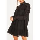 Popular Womens Solid Color Puff Sleeve Mock Neck Ruffled Hem Short Swing Dress