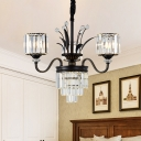 Black Cylinder Chandelier Lamp Simple 3/6/8-Light Clear Crystal Hanging Ceiling Light with Curved Arm