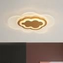Acrylic Cloud Ceiling Lighting Minimalism LED Gold Flush Light Fixture in Warm/White Light