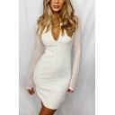 Trendy Womens Solid Color Sheer Long Sleeve Deep V-neck Zip up Knit Short Tight Dress in White
