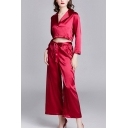 Fashionable Ladies Solid Color Button Up Lapel Collar Long Sleeve Crop Shirt & Tie Waist Ankle Length Wide-Leg Pants Pajama Set