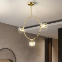 Modernist 3/6 Bulbs Semi Flush Lamp Gold Spherical Ceiling Fixture with Cut Crystal Shade