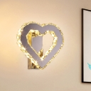 Loving Heart Beveled Crystal Sconce Modernist Stainless-Steel LED Wall Mounted Lamp