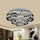 Floral Semi Flush Mount Light Simple Crystal Living Room LED Ceiling Lamp in Chrome