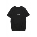 Womens Tee Top Fashionable Letter Delicates Pattern Round Neck Loose Fitted Half Sleeve Tee Top