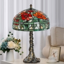 Stained Glass Bowl Shade Night Lighting Tiffany 1 Head Green and Red Floral Patterned Table Lamp for Bedroom