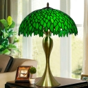 Baroque Domed Table Lamp 1 Light Green Stained Glass Night Lighting with Mermaid Base