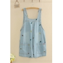 Preppy Overalls All over Leaf Embroidery Stitch Pocket Button Relaxed Fitted Short Denim Overalls for Women