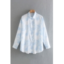 Leisure Tie Dye Printed Long Sleeve Turn Down Collar Button Up Relaxed Shirt Top in Blue