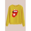 Chic Mouth Floral Printed Crew Neck Long Sleeve Regular Fitted Pullover Sweatshirt