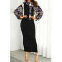 Vintage Baroque Printed Blouson Sleeve Tied Neck Maxi Sheath Dress in Black