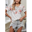 Pretty Womens Flower Printed Short Sleeve Crew Neck Relaxed Fit T Shirt in White