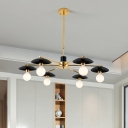 Contemporary Sphere Chandelier Lamp Opal Glass 6/8 Lights Parlor Drop Pendant with Radial Design in Black
