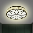 Simple Circle Ceiling Lamp Clear Crystal Block Living Room LED Flush Light Fixture in White with Floral Pattern