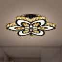 Modernism LED Semi Flush Mount Chrome Flower Small/Large Ceiling Lamp with Cut Crystal Shade for Living Room
