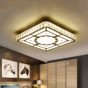 Crystal Block Square Ceiling Lamp Modern LED Chrome Semi Flush Mount Light with Round/Loving Heart Pattern