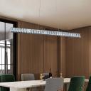Linear Island Light Fixture Minimalist Beveled Crystal Dining Room LED Pendant Lamp in Silver