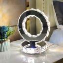 Circular Task Lighting Modern Clear Crystal LED Chrome Table Lamp in Warm/White Light for Bedroom