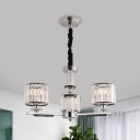 3/6 Bulbs Bedroom Suspension Lamp Modern Style Black Chandelier Light with Drum Clear Crystal Shade
