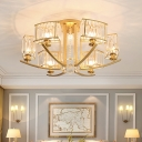7 Heads Living Room Semi Flush Modern Style Gold Ceiling Fixture with Cuboid Clear Crystal Shade