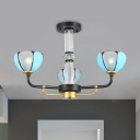Baroque Scalloped Chandelier 3/6 Bulbs Blue Cut Glass Pendant Lighting Fixture for Living Room