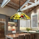 Brass Tapered Ceiling Chandelier Tiffany 3 Bulbs Stained Glass Hanging Pendant Light for Dining Room