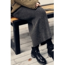 Womens Skirt Fashionable Solid Color Slit-Back Rib Knit Midi Pencil Skirt