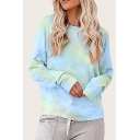 Trendy Womens Tie Dye Round Neck Long Sleeve Relaxed Fit T-shirt