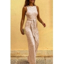 Sexy Sequin Embellished Belted Backless Round Neck Sleeveless Maxi Sheath Dress for Women