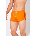 Sportive Solid Color Elasticated Drawstring Waist Pocket Mid Rise Relaxed Fit Running Shorts for Men