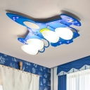 Airplane Semi Flush Mount Modern Opal Glass 4 Heads Boy's Bedroom Ceiling Lighting in Blue