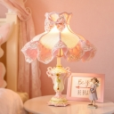 Cartoon Princess Dress Table Lamp Fabric Single Girl's Bedside Nightstand Light in Pink