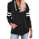 Stylish Striped Color Block Drawstring Kangaroo Pocket Long Sleeve Regular Fit Hoodie