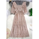 Pop Ditsy Floral Print Pleated Gathered Waist Ruffled Square Neck Short Puff Sleeve Chiffon Midi A-Line Dress for Women