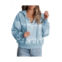 Trendy Tier Dye Printed Pockets Drawstring Hooded V-neck Long Sleeve Loose Hoodie for Women