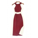 Chic Color Block Knit Sleeveless Halter Midi Bodycon Dress for Ladies