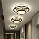 Black Round/Square Flush Ceiling Light Contemporary Beveled Crystal LED Flush Mount Lamp for Hallway