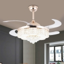 Floral Faceted Crystal Flush Ceiling Fan Simplicity 19