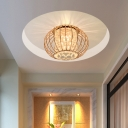 Simple Cylinder Ceiling Lamp Crystal LED Hallway Flush Mount with Global Frame Design in Gold, Warm/White Light