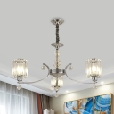 Cylindrical Bedroom Drop Lamp Crystal Prism 3-Head Modern Style Chandelier in Chrome