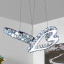 Beveled Crystal Heart Multi Ceiling Light Minimal Stainless-Steel LED Suspension Pendant in Warm/White Light